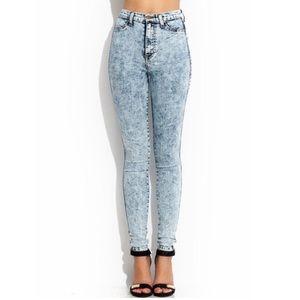 High Rise Acid Wash Blue Skinny Jeans